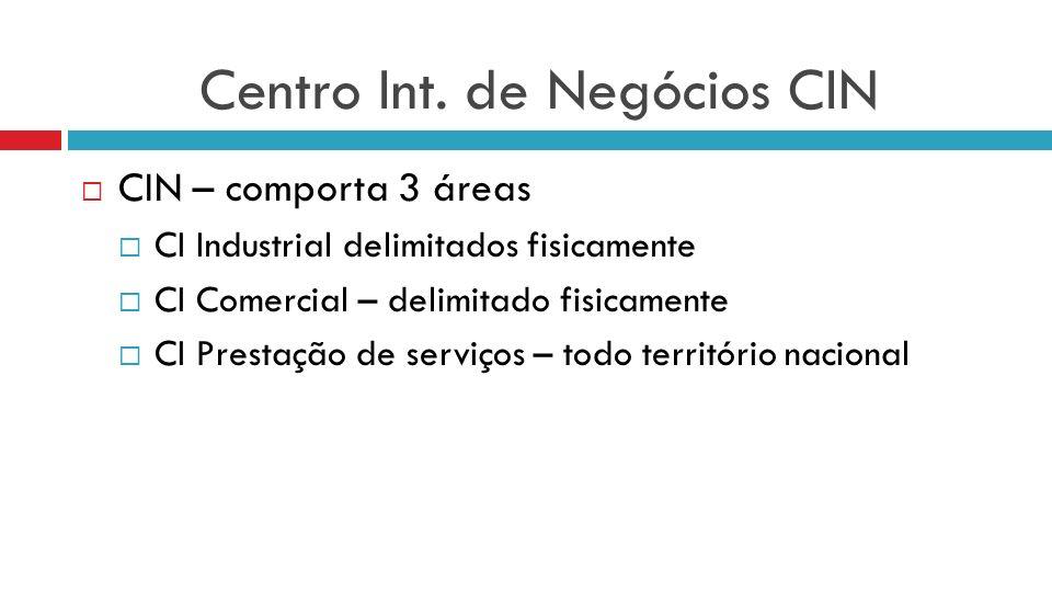 Centro Int. de Negócios CIN CIN – comporta 3 áreas CI Industrial delimitados fisicamente CI Comercial – delimitado fisicamente CI Prestação de serviço