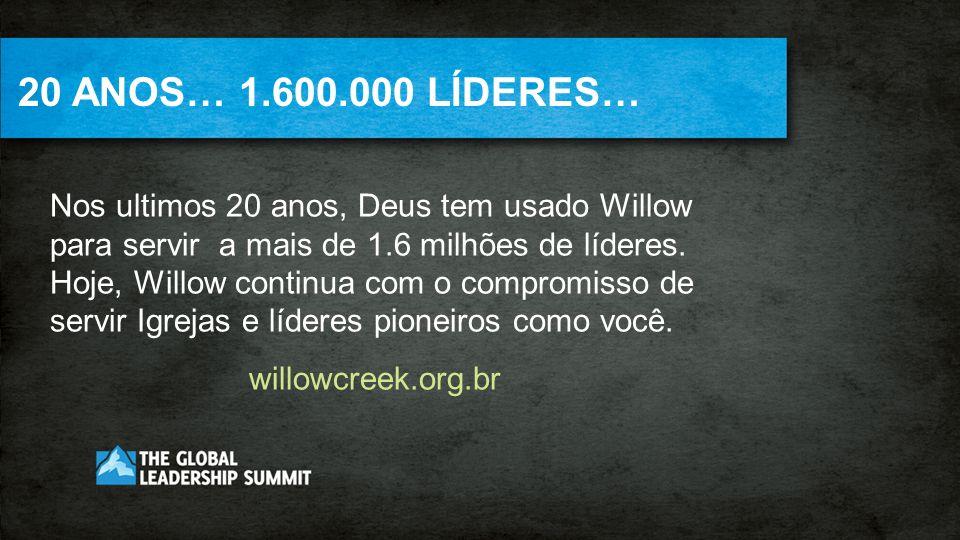 20 ANOS… 1.600.000 LÍDERES… Nos ultimos 20 anos, Deus tem usado Willow para servir a mais de 1.6 milhões de líderes. Hoje, Willow continua com o compr