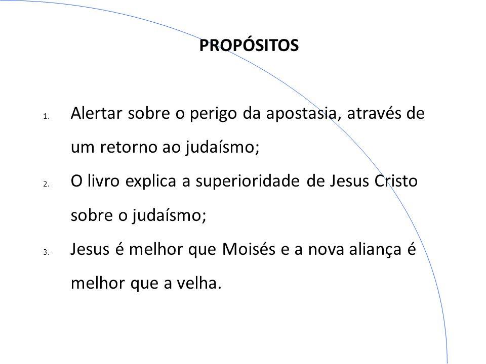 ESBÔÇO DO LIVRO 1) A superioridade de Cristo – caps 1 a 3; 2) A superioridade do sacerdócio de Cristo - caps 4 a 9; 3) Exortações à fé, à esperança e ao amor - caps 10 a 13.
