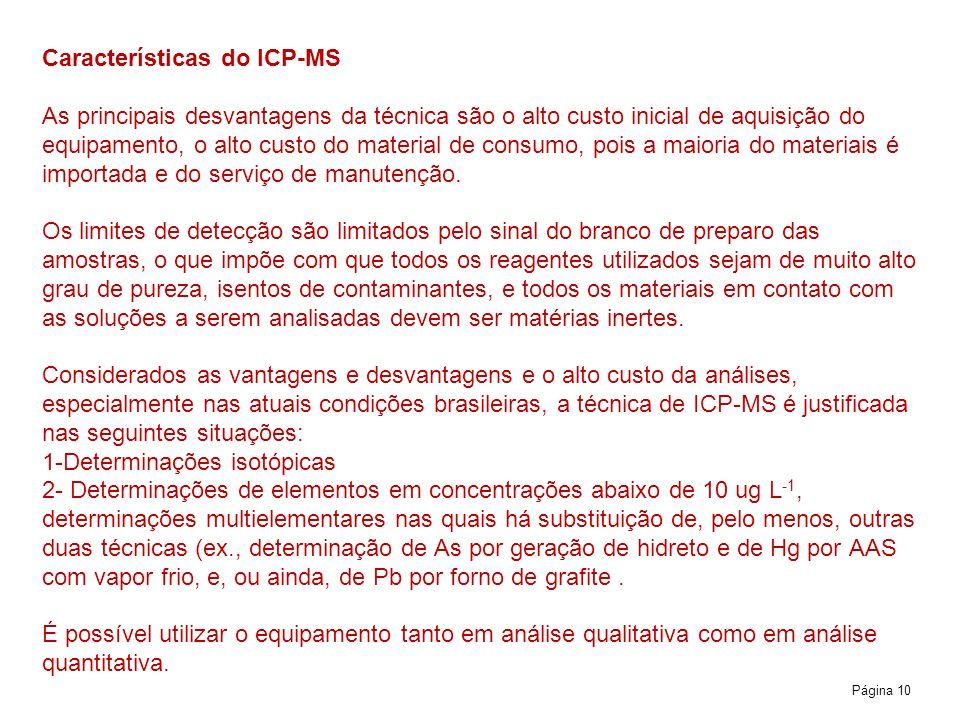 Página 10 Características do ICP-MS As principais desvantagens da técnica são o alto custo inicial de aquisição do equipamento, o alto custo do materi