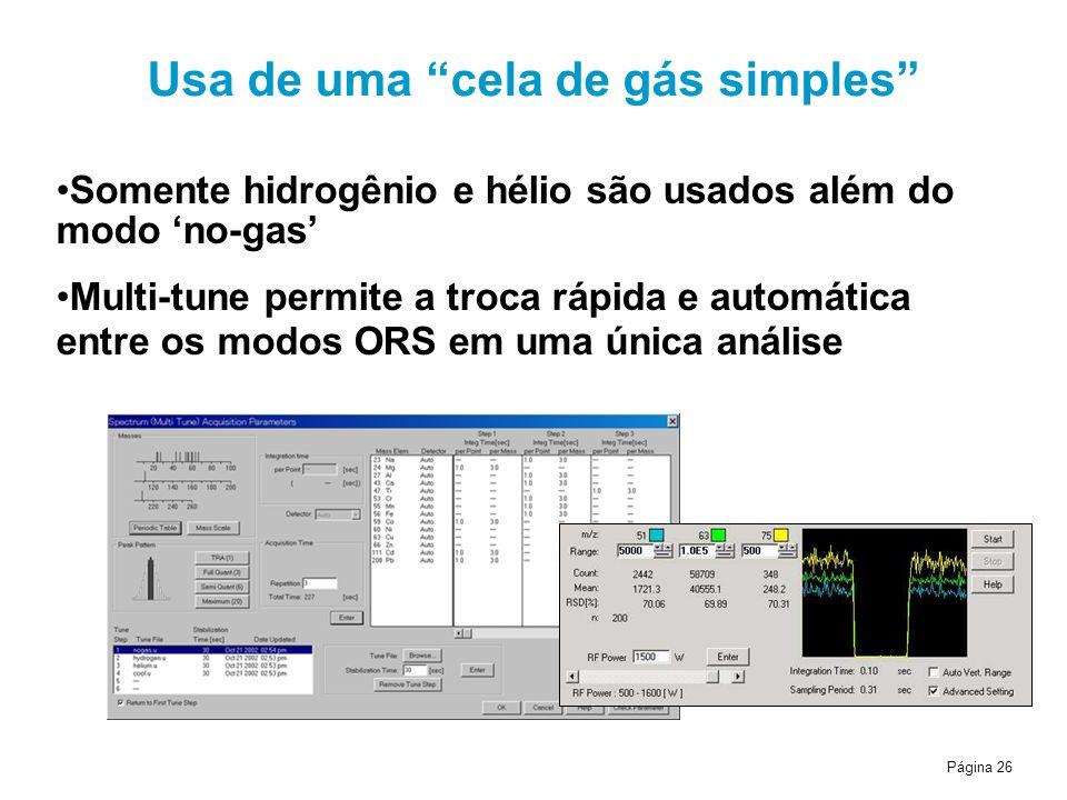 Página 26 Usa de uma cela de gás simples Somente hidrogênio e hélio são usados além do modo no-gas Multi-tune permite a troca rápida e automática entre os modos ORS em uma única análise