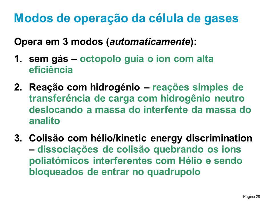 Página 28 Modos de operação da célula de gases Opera em 3 modos (automaticamente): 1.sem gás – octopolo guia o ion com alta eficiência 2.Reação com hidrogénio – reações simples de transferéncia de carga com hidrogênio neutro deslocando a massa do interfente da massa do analito 3.Colisão com hélio/kinetic energy discrimination – dissociações de colisão quebrando os ions poliatómicos interferentes com Hélio e sendo bloqueados de entrar no quadrupolo