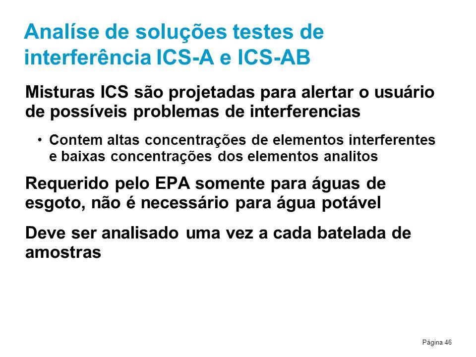 Página 46 Analíse de soluções testes de interferência ICS-A e ICS-AB Misturas ICS são projetadas para alertar o usuário de possíveis problemas de interferencias Contem altas concentrações de elementos interferentes e baixas concentrações dos elementos analitos Requerido pelo EPA somente para águas de esgoto, não é necessário para água potável Deve ser analisado uma vez a cada batelada de amostras