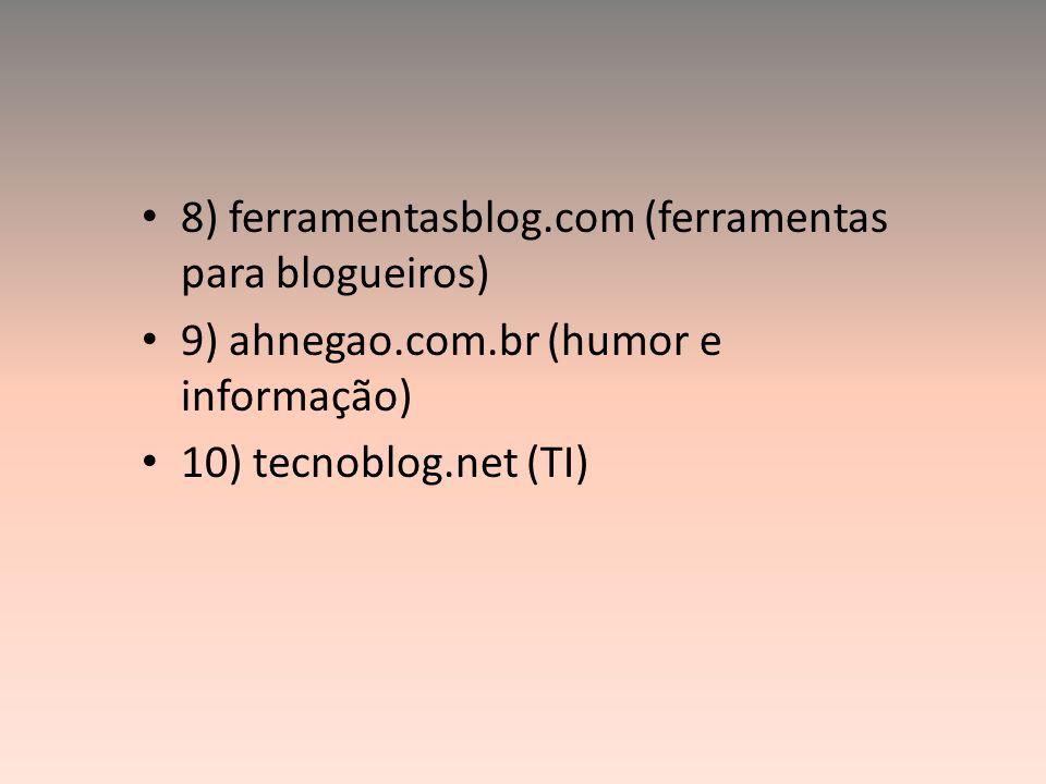 8) ferramentasblog.com (ferramentas para blogueiros) 9) ahnegao.com.br (humor e informação) 10) tecnoblog.net (TI)