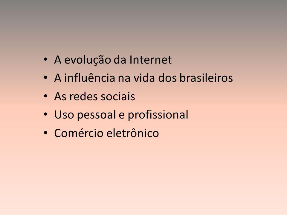 A evolução da Internet A influência na vida dos brasileiros As redes sociais Uso pessoal e profissional Comércio eletrônico