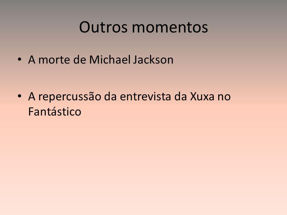 Outros momentos A morte de Michael Jackson A repercussão da entrevista da Xuxa no Fantástico
