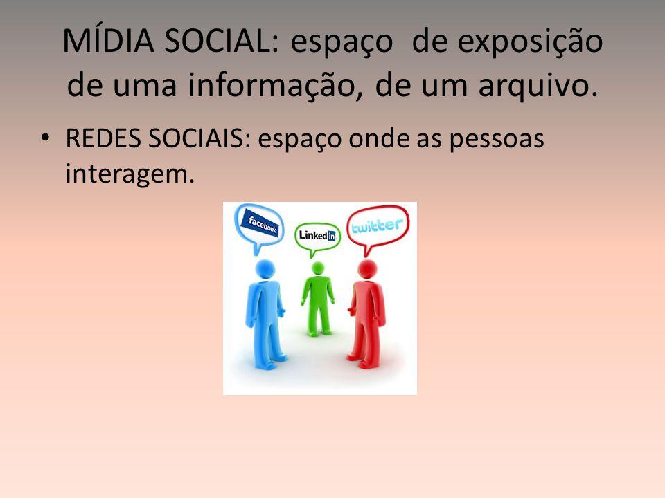 MÍDIA SOCIAL: espaço de exposição de uma informação, de um arquivo. REDES SOCIAIS: espaço onde as pessoas interagem.