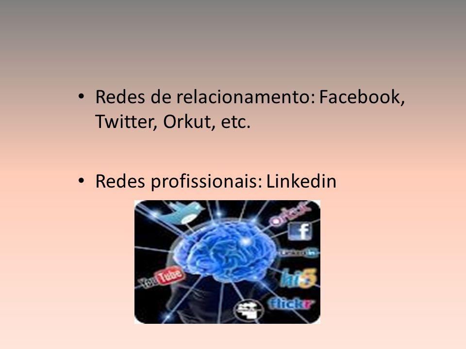 Redes de relacionamento: Facebook, Twitter, Orkut, etc. Redes profissionais: Linkedin