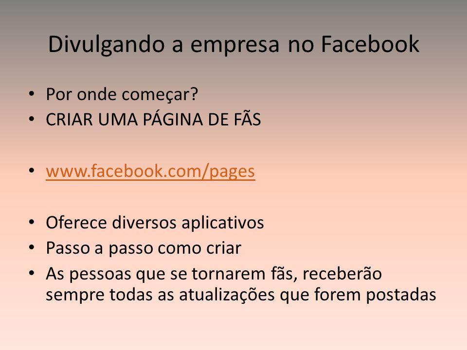 Divulgando a empresa no Facebook Por onde começar? CRIAR UMA PÁGINA DE FÃS www.facebook.com/pages Oferece diversos aplicativos Passo a passo como cria