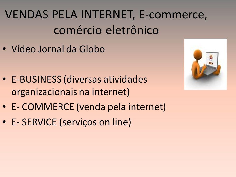 VENDAS PELA INTERNET, E-commerce, comércio eletrônico Vídeo Jornal da Globo E-BUSINESS (diversas atividades organizacionais na internet) E- COMMERCE (