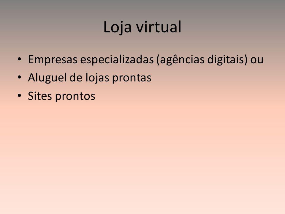 Loja virtual Empresas especializadas (agências digitais) ou Aluguel de lojas prontas Sites prontos