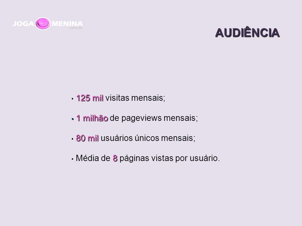 AUDIÊNCIA 125 mil 125 mil visitas mensais; 1 milhão 1 milhão de pageviews mensais; 80 mil 80 mil usuários únicos mensais; 8 Média de 8 páginas vistas por usuário.
