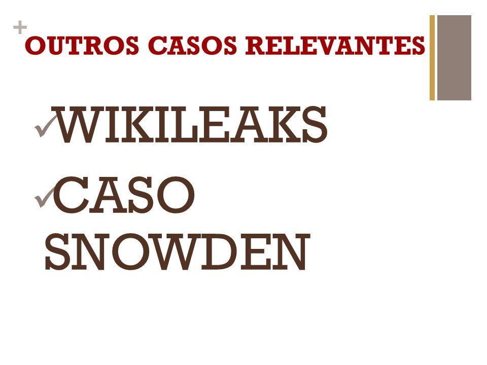 + OUTROS CASOS RELEVANTES WIKILEAKS CASO SNOWDEN