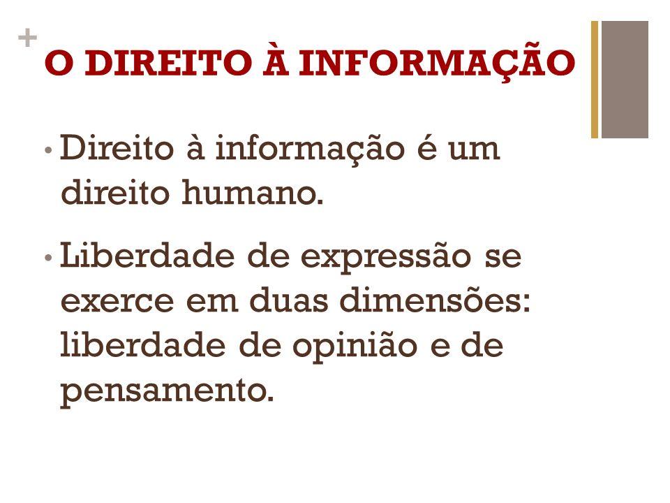 + O DIREITO À INFORMAÇÃO Ter acesso à informação para criar um pensamento próprio; Ter direito à difusão; Direito e exercício da sociedade de estar informada, de construir una opinião pública informada.