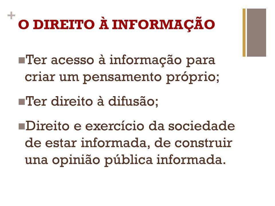 + O DIREITO À INFORMAÇÃO Ter acesso à informação para criar um pensamento próprio; Ter direito à difusão; Direito e exercício da sociedade de estar in