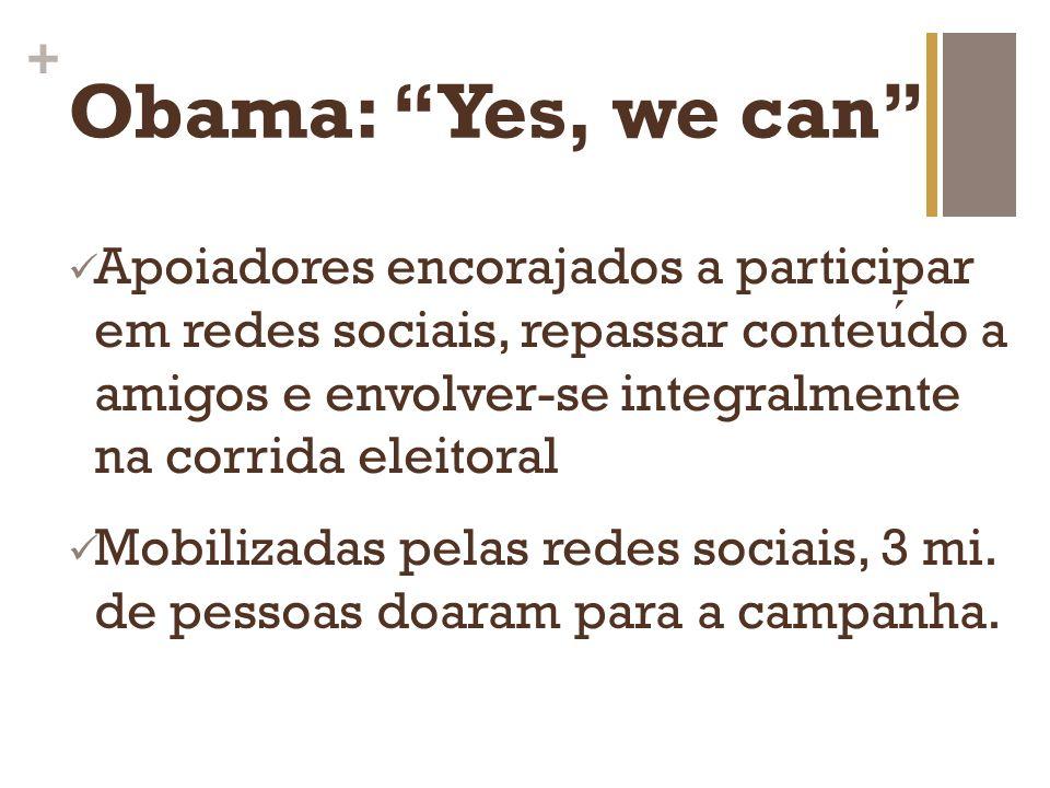 + Obama: Yes, we can Apoiadores encorajados a participar em redes sociais, repassar conteudo a amigos e envolver-se integralmente na corrida eleitoral