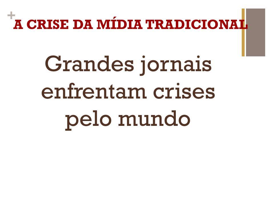 + A CRISE DA MÍDIA TRADICIONAL Circulação cada vez menor de jornais tradicionais no mundo.