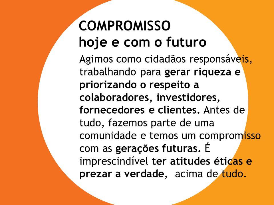 Agimos como cidadãos responsáveis, trabalhando para gerar riqueza e priorizando o respeito a colaboradores, investidores, fornecedores e clientes. Ant