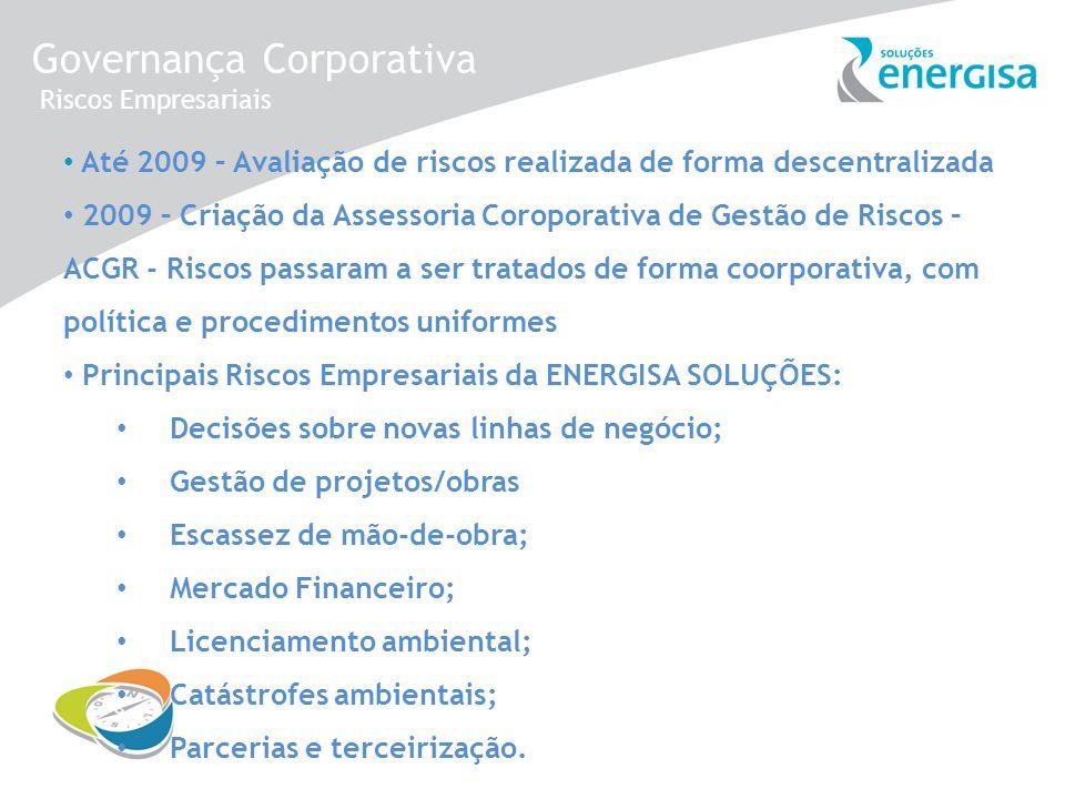 Governança Corporativa Riscos Empresariais Até 2009 – Avaliação de riscos realizada de forma descentralizada 2009 – Criação da Assessoria Coroporativa