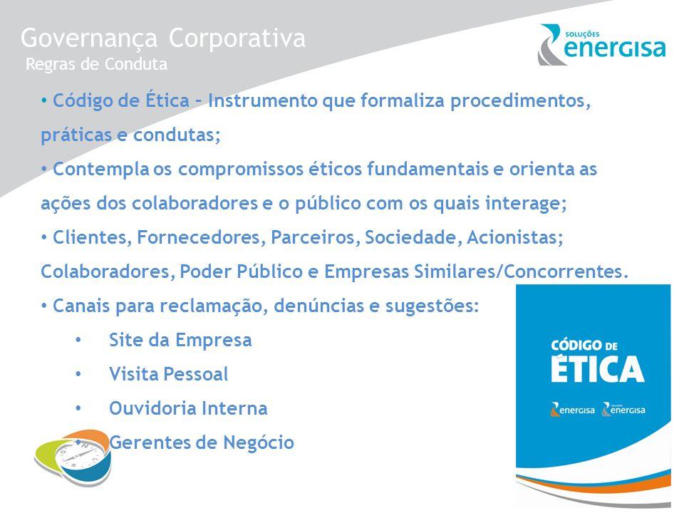 Governança Corporativa Regras de Conduta Código de Ética – Instrumento que formaliza procedimentos, práticas e condutas; Contempla os compromissos éti