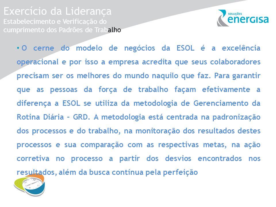 Exercício da Liderança Estabelecimento e Verificação do cumprimento dos Padrões de Trabalho O cerne do modelo de negócios da ESOL é a excelência opera