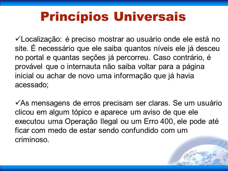 Princípios Universais Localização: é preciso mostrar ao usuário onde ele está no site.
