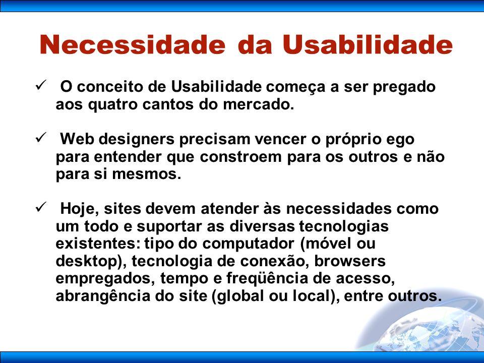 Necessidade da Usabilidade O conceito de Usabilidade começa a ser pregado aos quatro cantos do mercado.