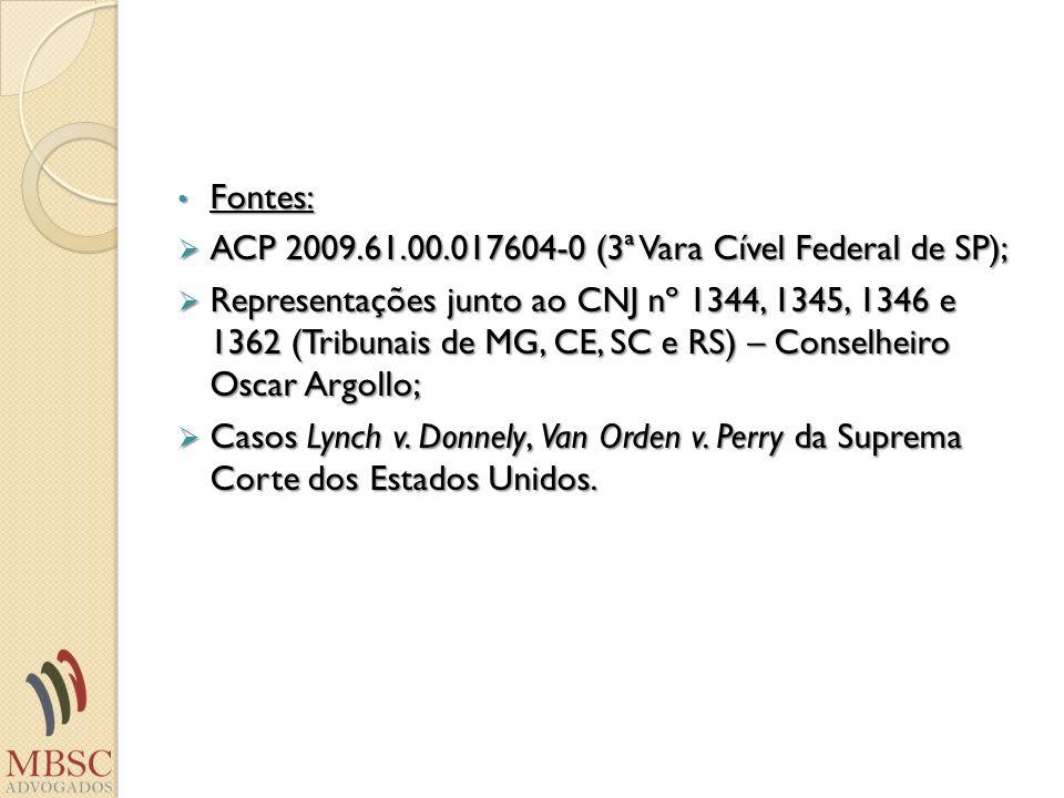 Fontes: Fontes: ACP 2009.61.00.017604-0 (3ª Vara Cível Federal de SP); ACP 2009.61.00.017604-0 (3ª Vara Cível Federal de SP); Representações junto ao