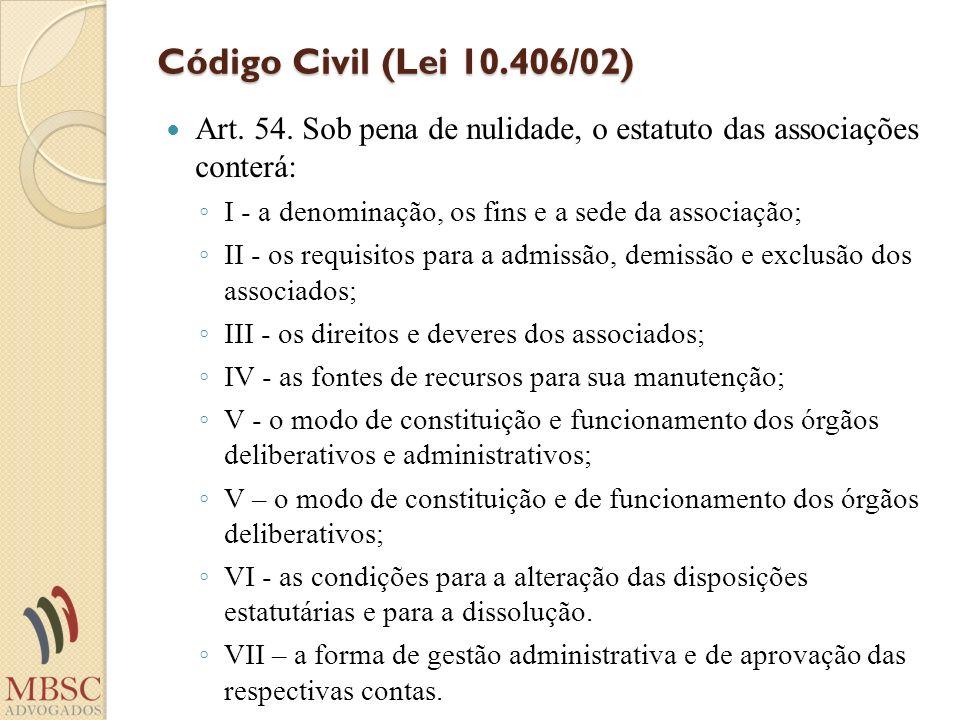 Código Civil (Lei 10.406/02) Art. 54. Sob pena de nulidade, o estatuto das associações conterá: I - a denominação, os fins e a sede da associação; II