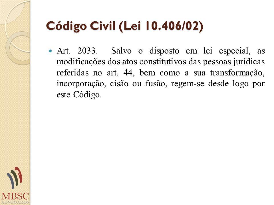 Código Civil (Lei 10.406/02) Art. 2033. Salvo o disposto em lei especial, as modificações dos atos constitutivos das pessoas jurídicas referidas no ar