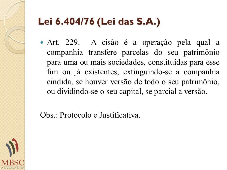 Lei 6.404/76 (Lei das S.A.) Art. 229. A cisão é a operação pela qual a companhia transfere parcelas do seu patrimônio para uma ou mais sociedades, con