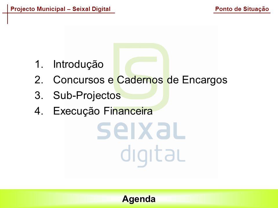 Projecto Municipal – Seixal Digital Ponto de Situação Agenda 1.Introdução 2.Concursos e Cadernos de Encargos 3.Sub-Projectos 4.Execução Financeira