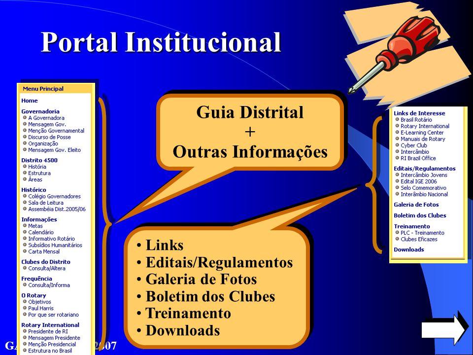 GATS PLD 2006/2007 Guia Distrital + Outras Informações Portal Institucional Links Editais/Regulamentos Galeria de Fotos Boletim dos Clubes Treinamento Downloads Links Editais/Regulamentos Galeria de Fotos Boletim dos Clubes Treinamento Downloads