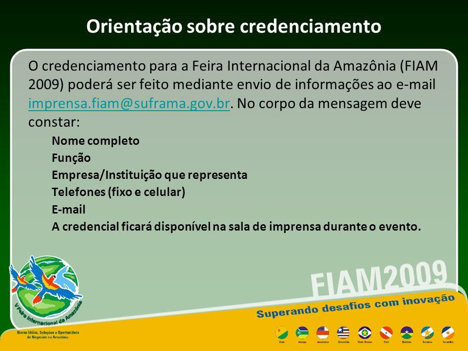 Uso da sala de imprensa A sala de imprensa da Feira Internacional da Amazônia contará com moderna infraestrutura, sendo disponibilizado telefone fixo, impressora, fax e computadores com acesso a Internet, além de pontos de conexão para notebooks.