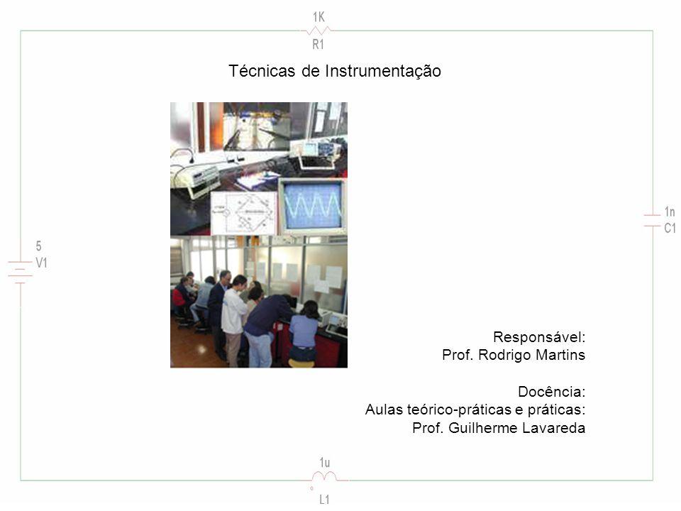 Técnicas de Instrumentação Responsável: Prof. Rodrigo Martins Docência: Aulas teórico-práticas e práticas: Prof. Guilherme Lavareda