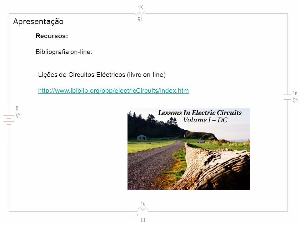 Recursos: Bibliografia on-line: Lições de Circuitos Eléctricos (livro on-line) http://www.ibiblio.org/obp/electricCircuits/index.htm Apresentação