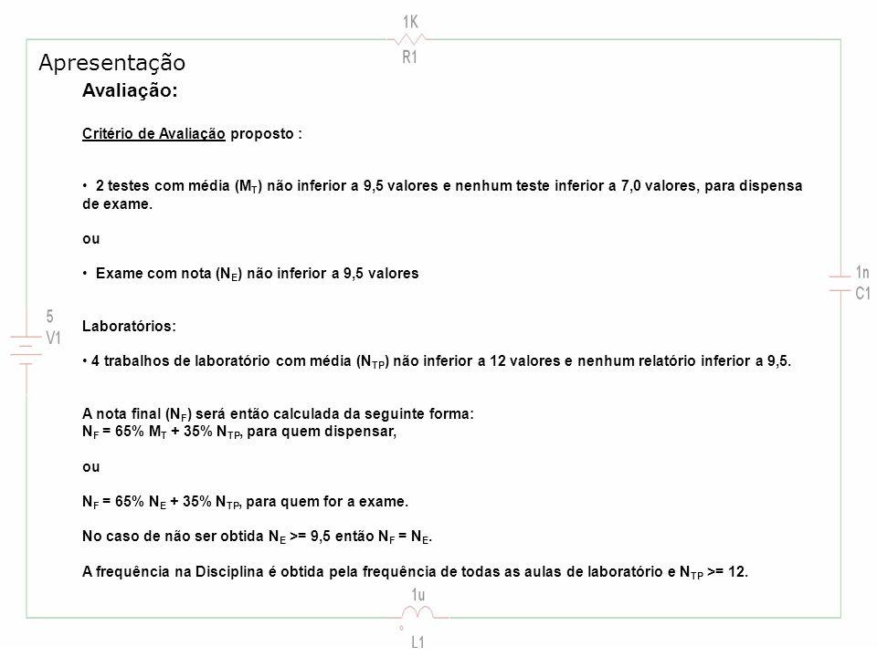 Avaliação: Critério de Avaliação proposto : 2 testes com média (M T ) não inferior a 9,5 valores e nenhum teste inferior a 7,0 valores, para dispensa