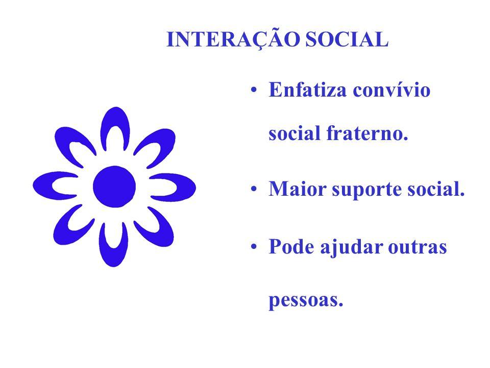 INTERAÇÃO SOCIAL Enfatiza convívio social fraterno.