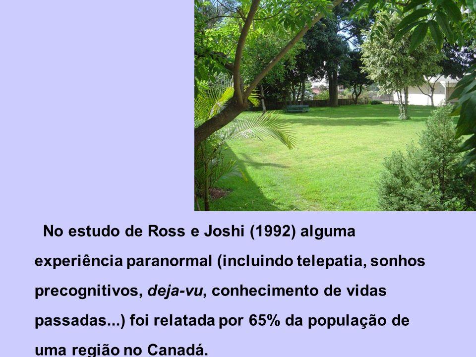 No estudo de Ross e Joshi (1992) alguma experiência paranormal (incluindo telepatia, sonhos precognitivos, deja-vu, conhecimento de vidas passadas...) foi relatada por 65% da população de uma região no Canadá.