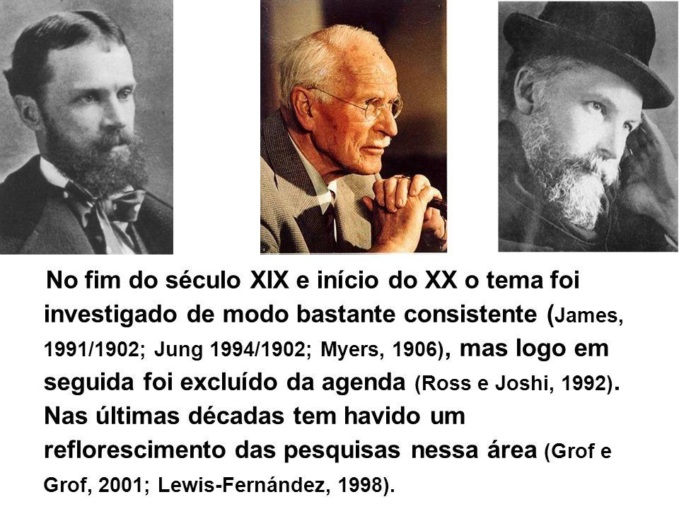 No fim do século XIX e início do XX o tema foi investigado de modo bastante consistente ( James, 1991/1902; Jung 1994/1902; Myers, 1906), mas logo em seguida foi excluído da agenda (Ross e Joshi, 1992).