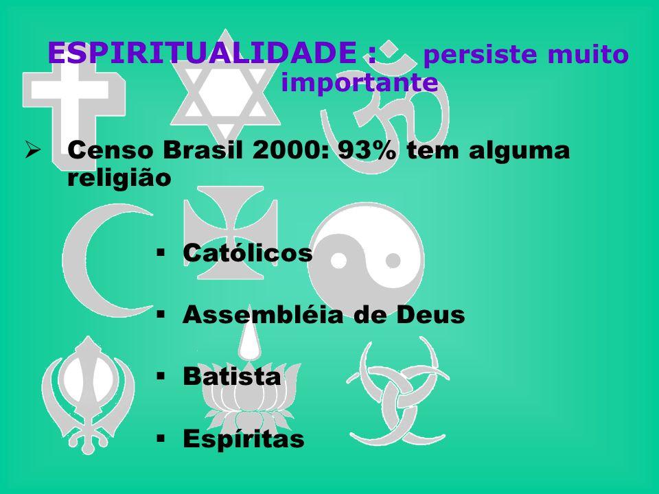 ESPIRITUALIDADE : persiste muito importante Censo Brasil 2000: 93% tem alguma religião Católicos Assembléia de Deus Batista Espíritas