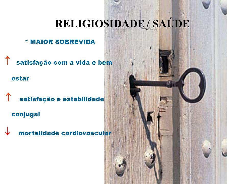 RELIGIOSIDADE / SAÚDE * MAIOR SOBREVIDA satisfação com a vida e bem estar satisfação e estabilidade conjugal mortalidade cardiovascular