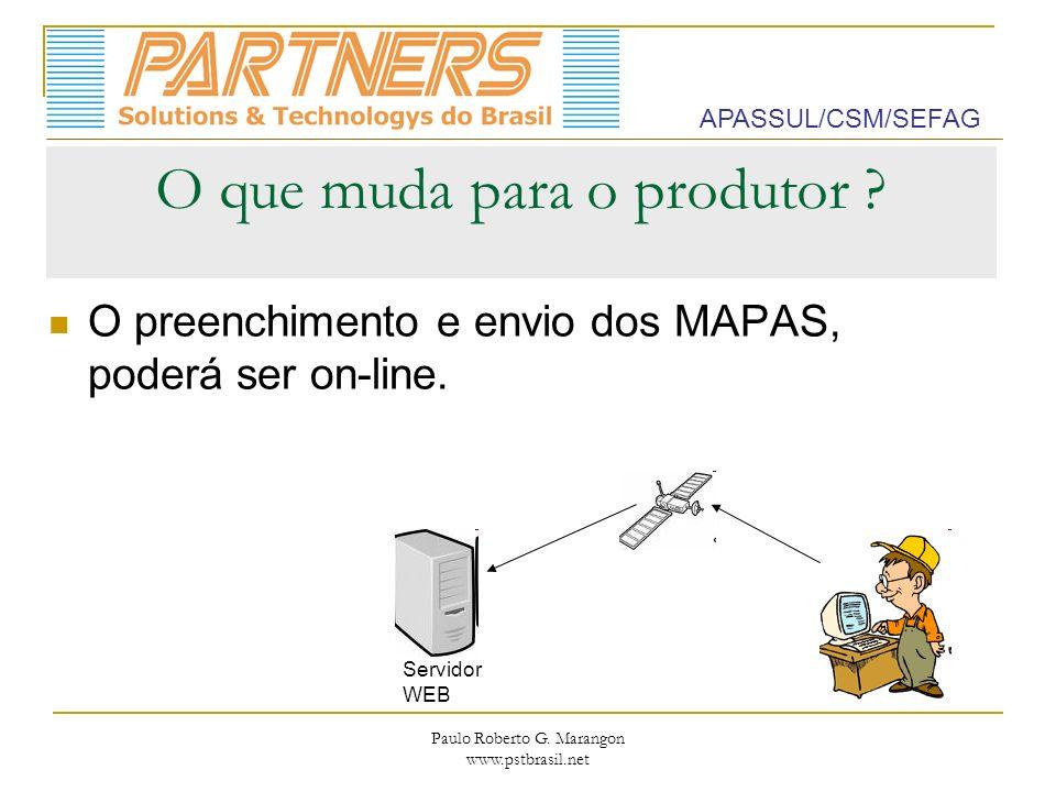 Paulo Roberto G. Marangon www.pstbrasil.net O que muda para o produtor ? O preenchimento e envio dos MAPAS, poderá ser on-line. APASSUL/CSM/SEFAG Serv