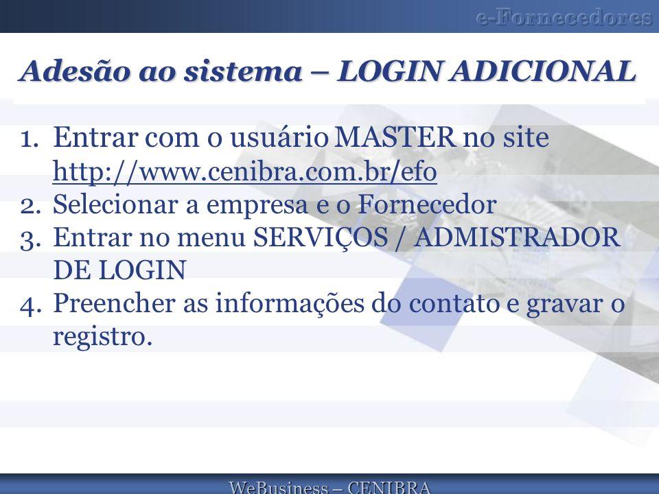 WeBusiness – CENIBRA Adesão ao sistema – LOGIN ADICIONAL 1.Entrar com o usuário MASTER no site http://www.cenibra.com.br / efo http://www.cenibra.com.