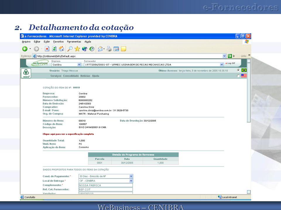 WeBusiness – CENIBRA 2.Detalhamento da cotação