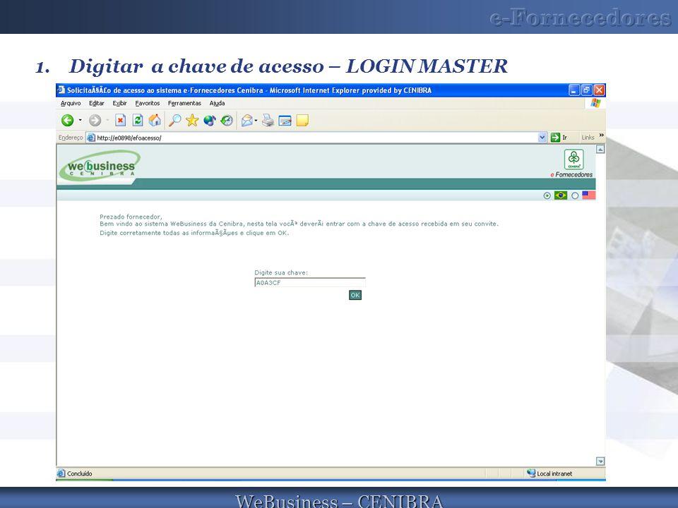 WeBusiness – CENIBRA 1.Digitar a chave de acesso – LOGIN MASTER