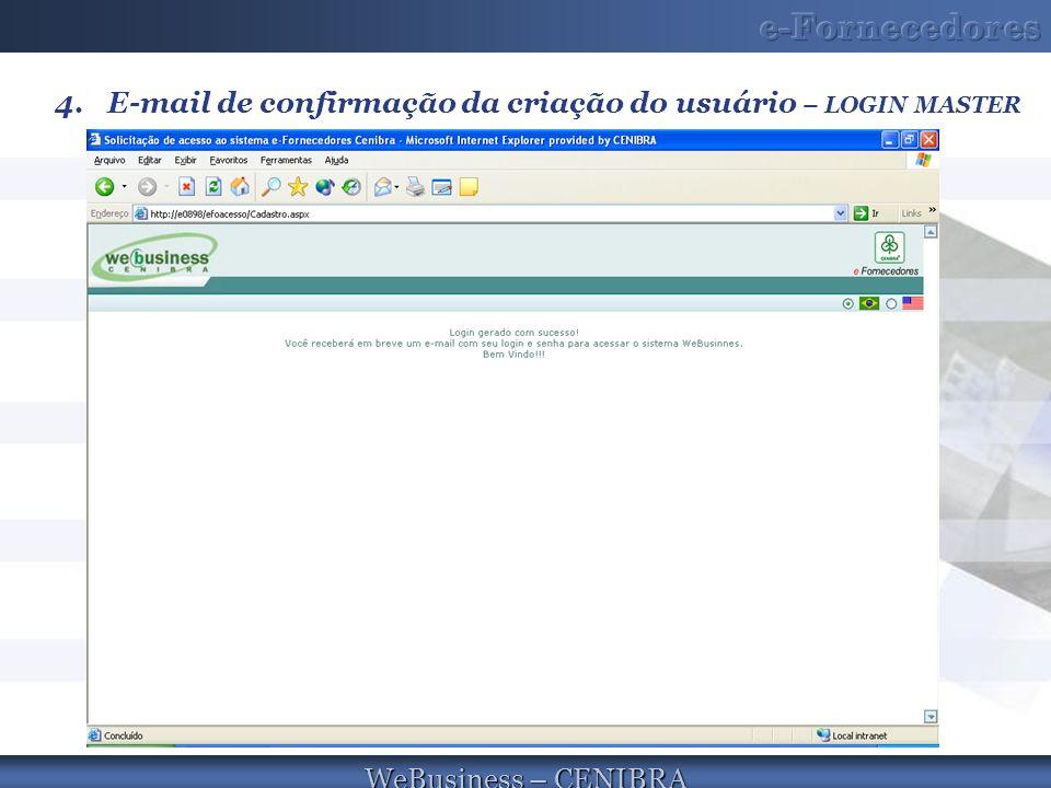 WeBusiness – CENIBRA 4.E-mail de confirmação da criação do usuário – LOGIN MASTER