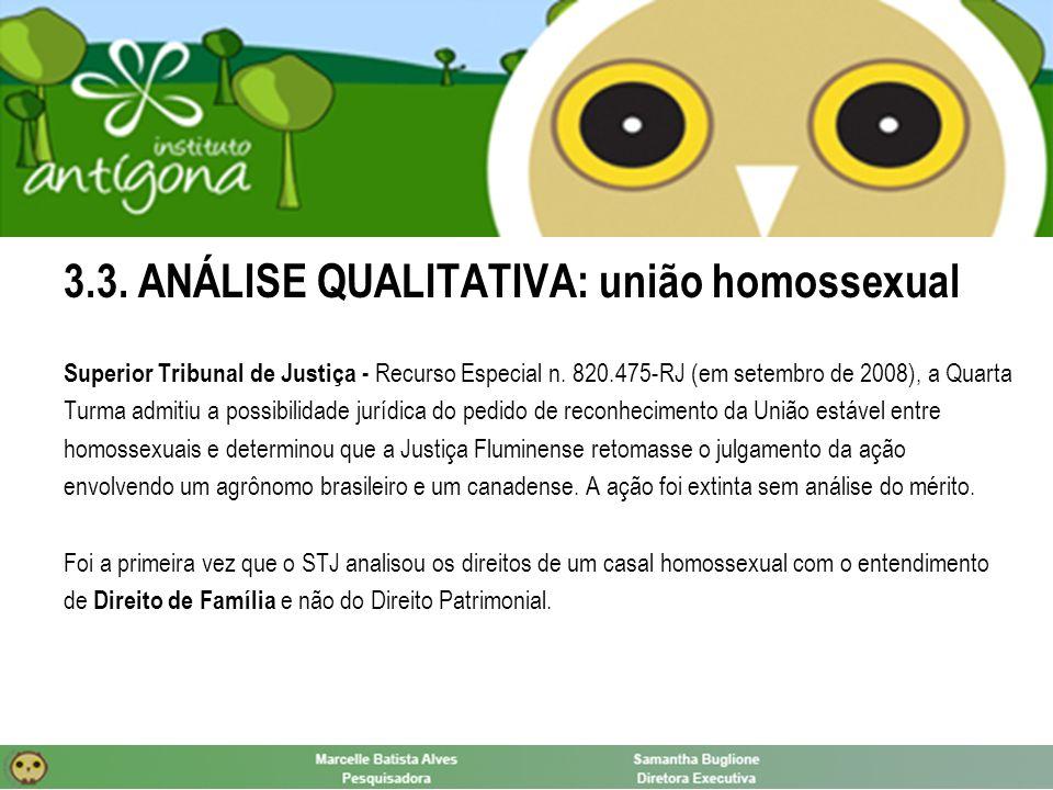 3.3. ANÁLISE QUALITATIVA: união homossexual Superior Tribunal de Justiça - Recurso Especial n.