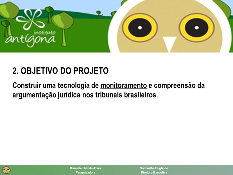 2. OBJETIVO DO PROJETO Construir uma tecnologia de monitoramento e compreensão da argumentação jurídica nos tribunais brasileiros.