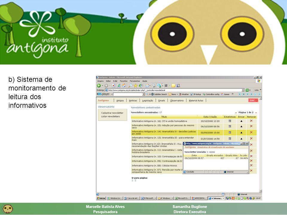 b) Sistema de monitoramento de leitura dos informativos